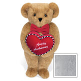 """15"""" Happy Anniversary Bear - Front view of standing jointed bear dressed in a red velvet bow tie and holding a red heart pillow that says' Happy Anniversary"""" in white  - Gray image number 4"""