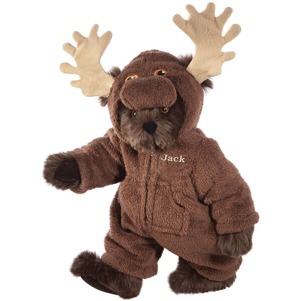 """15"""" Moose Bear - Front view of standing jointed bear dressed in a brown hoodie footie with tan antlers personalized with """"Jack"""" on left chest in gold lettering - Espresso brown fur image number 7"""
