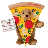 "15"" Pizza My Heart Bear - Front view of standing jointed bear dressed in a pizza slive costume holding a pizza box that says ""You have a pizza my heart"", personalized with ""Jessica"" on the crust in red - Honey brown fur image number 0"
