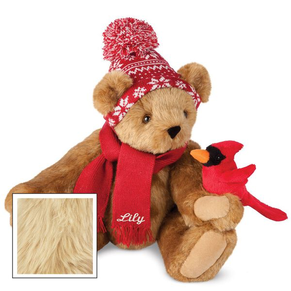 """15"""" Season's Greetings Bear - Front view of seated jointed bear dressed in a knit red and white nordic patterned hat with red scarf and holding a red cardinal. Bottom edge of scarf is personalized with """"Lily"""" in white lettering - Maple brown fur image number 3"""