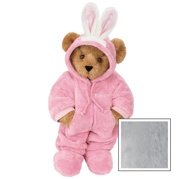 """15"""" Hoodie-Footie Bunny Bear - Front view of standing jointed bear dressed in pink hoodie footie and bunny ears personalized with """"Emily"""" in white on left chest - Gray image number 5"""