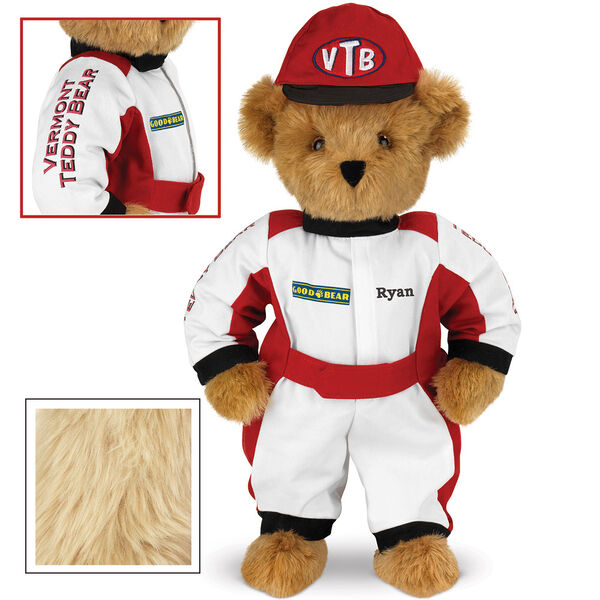 """15"""" Racecar Driver Bear - Front view of standing jointed bear dressed in red and white racing suit and hat with """"Vermont Teddy Bear"""" on sleeve, """"Good Bear"""" on chest and """"VTB"""" on hat. Personalized with """"Ryan"""" on in black - Maple brown fur image number 4"""