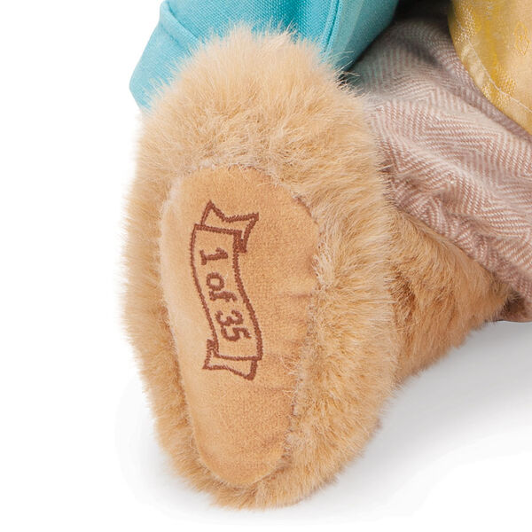 """16"""" Limited Edition Easter Bunny - close up of bunny's right foot, embroidered with """"1 of 35"""" in brown image number 2"""