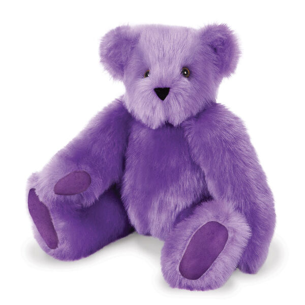 "15"" Special Edition Spark Kindness Classic Bear - Seated jointed purple bear with purple paw pads and brown eyes. image number 2"