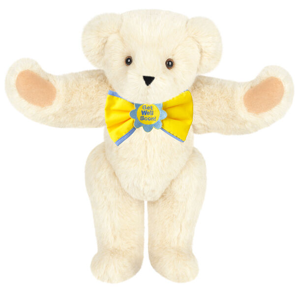 """15"""" """"Get Well"""" Bow Tie Bear - Standing jointed bear dressed in yellow bow tie with blue trim; """"Get Well Soon"""" is embroidered on floral center - Buttercream brown fur image number 1"""