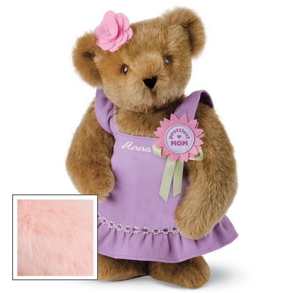 """15"""" Prettiest Mom Ever Bear - Front view of standing jointed bear dressed in a lilac sundress with felt flower pin that says """"Prettiest Mom"""" in pink and pink flower on ear. Dress is personalized with """"Anna"""" in cream on front - Honey brown fur image number 5"""