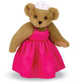 """15"""" Birthday Girl Bear - Standing jointed bear dressed in hot pink satin dress and bejeweled tiara - Honey brown fur image number 0"""