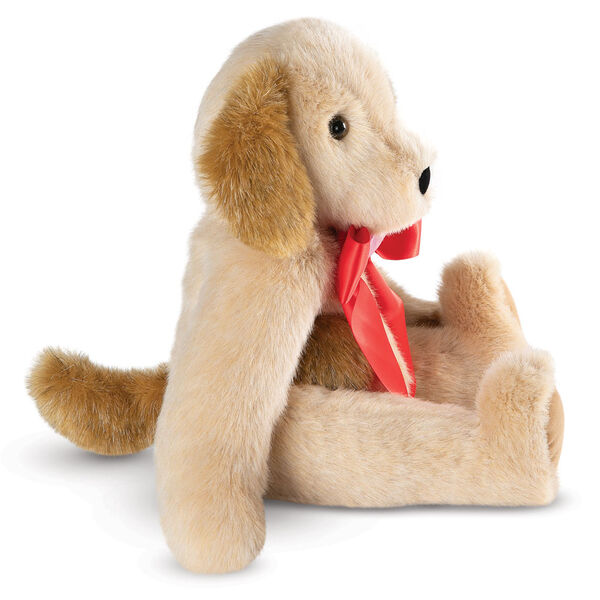 """15"""" Classic Puppy Dog - Side view of seated jointed tan puppy dog with honey brown spots, ears and taildressed in a red satin bow with pink heart in center - Buttercream brown fur image number 2"""