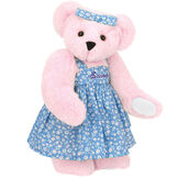 "15"" Mother Bear - Three quarter view of standing jointed bear dressed in blue floral dress and hair bow personalized with ""Susan"" in purple on bodice of dress - Pink fur image number 6"