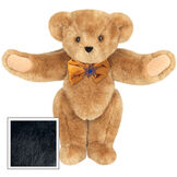 """15"""" Jewish Classic Bear - Front view of standing jointed bear dressed in gold velvet bow tie with Star of David in center - Black fur image number 3"""