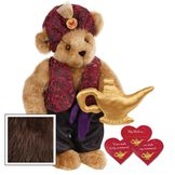 """15"""" Your Wish Is My Command Bear - Front view of standing jointed bear dressed in a red brocade turban and vest, purple belt and black satin pants. Comes with gold genie lamp and 3 wish cards - Espresso brown fur image number 7"""
