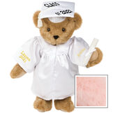 """15"""" Graduation Bear in White Gown - Front view of standing jointed bear dressed in white satin graduation gown and cap and holding a rolled up diploma personalized """"Jackson 2021"""" on right sleeve and """"Syracuse"""" on left in gold - Pink image number 5"""