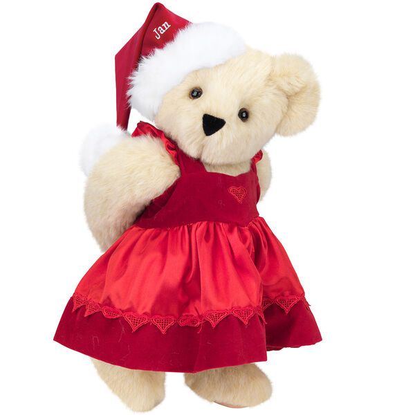 """15"""" Christmas Sweetheart Bear - Standing jointed bear dressed in white red velvet dress with heart lace trim and red velvet santa hat with white fur trim. Hat is personalized with """"Jan"""" above the fur  - Buttercream brown fur image number 1"""