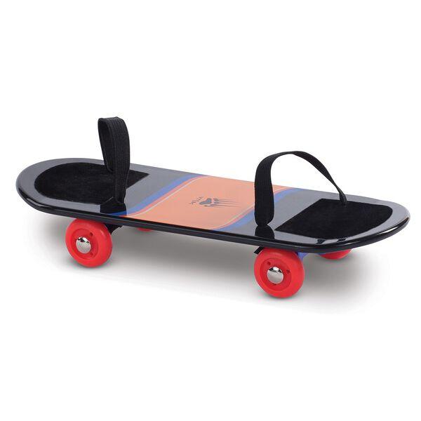 "15"" Skateboard - Black plastic skateboard with orange and blue stripes and foot straps  image number 0"