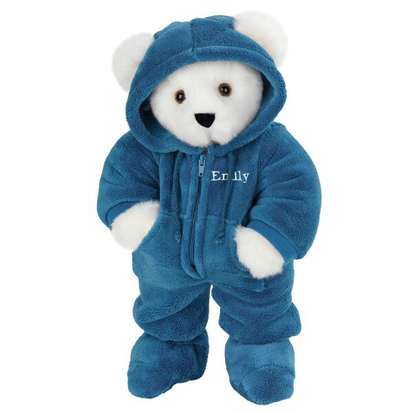 "15"" Hoodie-Footie Bear Blue - Front view of standing jointed bear dressed in blue hoodie footie personalized with ""Emily"" in white on left chest - Vanilla white fur image number 2"