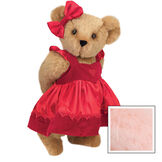 "15"" Sweetheart Teddy Bear - Three quarter view of standing jointed bear dressed in red velvet and satin dress and hair bow with heart lace trim and heart applique on front of dress - Pink fur image number 4"