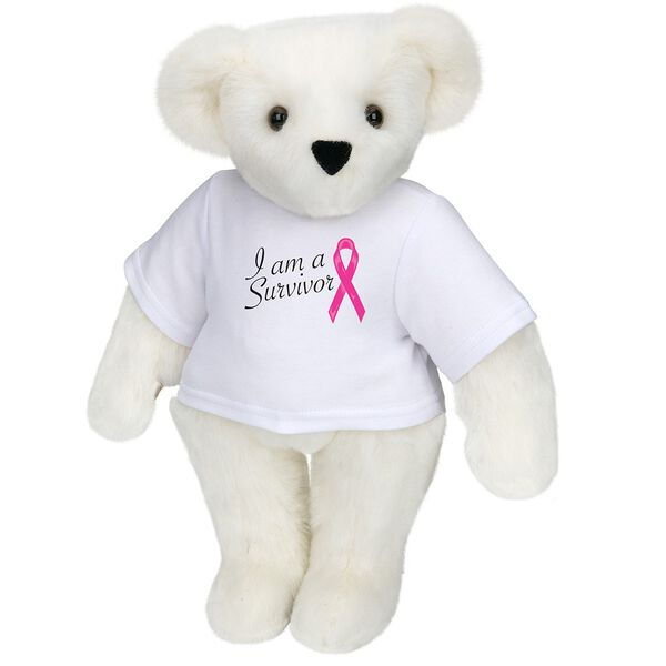 """15"""" Breast Cancer Survivor T-Shirt Bear - Standing jointed bear dressed in white t-shirt with bright pink cancer ribbon and says, """" I am a Survivor"""" - Vanilla white fur image number 2"""