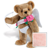 """15"""" Cupid Bear - Three quarter view of standing jointed bear dressed in white diaper, white sash with pink flowers and holding a cupid bow. Sash says """"I Love You"""" - Pink image number 5"""