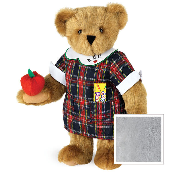 """15"""" Teacher Bear - Standing jointed bear dressed in a navy plaid dress with white teacher collar, colored pencils in the pocket and holding a fabric apple. Collar embroidered with """"ABC""""and personalized with """"Susan"""" in black - Gray image number 4"""