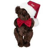 """15"""" Christmas Classic Bear - Standing jointed bear dressed in white red velvet bow tie with red velvet santa hat with white fur trim. Hat is personalized with """"Dan"""" above the fur  - Espresso brown fur image number 4"""