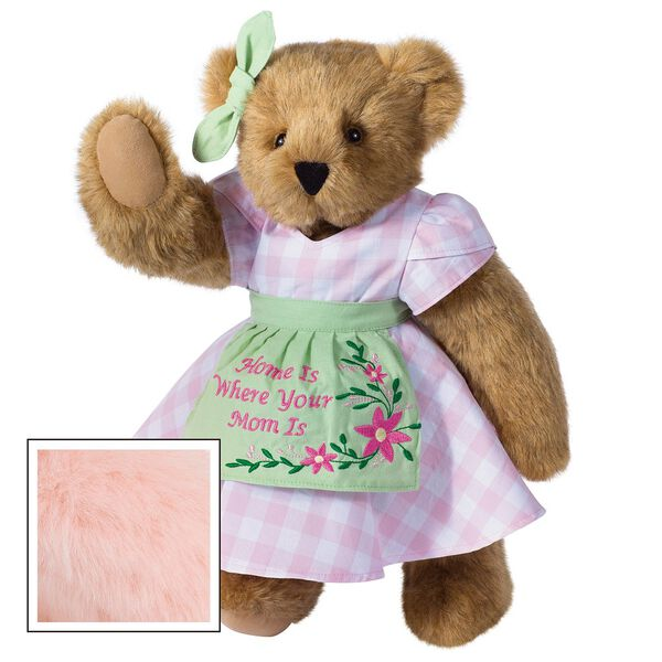 """15"""" Home Is Where Your Mom Is Bear - Front view of standing jointed bear wearing a pink gingham dress, green bow and apron with floral embroidery and says """"Home is Where Your Mom Is"""" - Pink fur image number 5"""