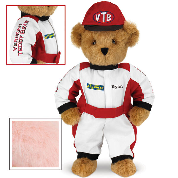 """15"""" Racecar Driver Bear - Front view of standing jointed bear dressed in red and white racing suit and hat with """"Vermont Teddy Bear"""" on sleeve, """"Good Bear"""" on chest and """"VTB"""" on hat. Personalized with """"Ryan"""" in black - Pink image number 5"""