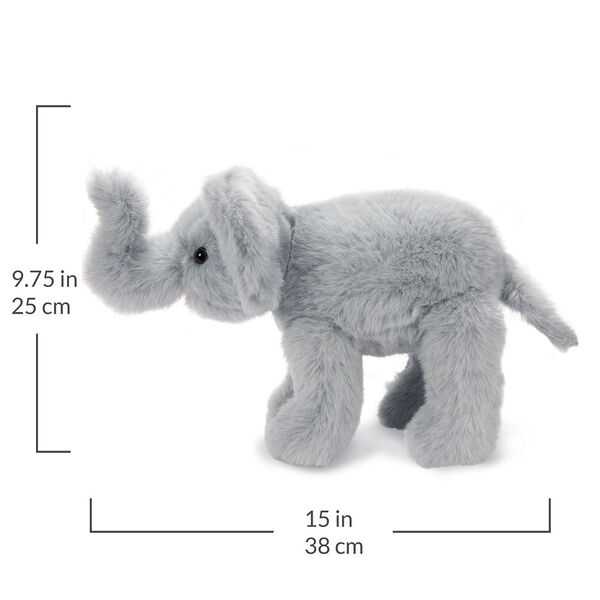 """15"""" Classic Elephant - Side view of standing gray plush elephant with text that reads, """"9.75 in or 25 cm tall and 15 in or 38 cm long"""".  image number 5"""