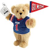 """15"""" Mom's Biggest Fan Bear - Front view of standing jointed bear dressed in a blue shirt with """"Mom 1"""" on front, holding a white foam finger that says """"#1 Mom"""" and a """"Go Mom"""" red flag - Maple brown fur image number 6"""