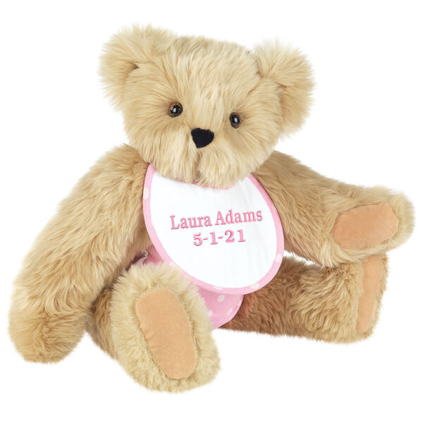 """15"""" Baby Girl Bear - Seated jointed bear dressed in pink with white dots fabric diaper and bib. Bib with """"Laura Adams"""" and """"5-1-21"""" in light pink lettering - Maple brown fur image number 8"""