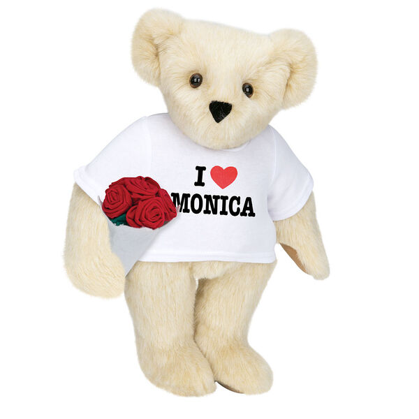 """15"""" """"I HEART You"""" Personalized T-Shirt Bear with Roses - Standing Jointed Bear in white t-shirt that says I """"Heart"""" You in black and red lettering holding a red rose bouquet - Buttercream image number 2"""