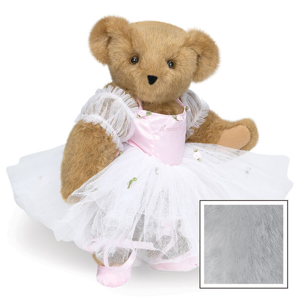 """15"""" Ballerina Bear - Standing jointed bear dressed in pink satin and tulle dress and ballet slippers. Center front of dress is personalized with """"Hannah"""" in bright pink lettering - Gray image number 4"""