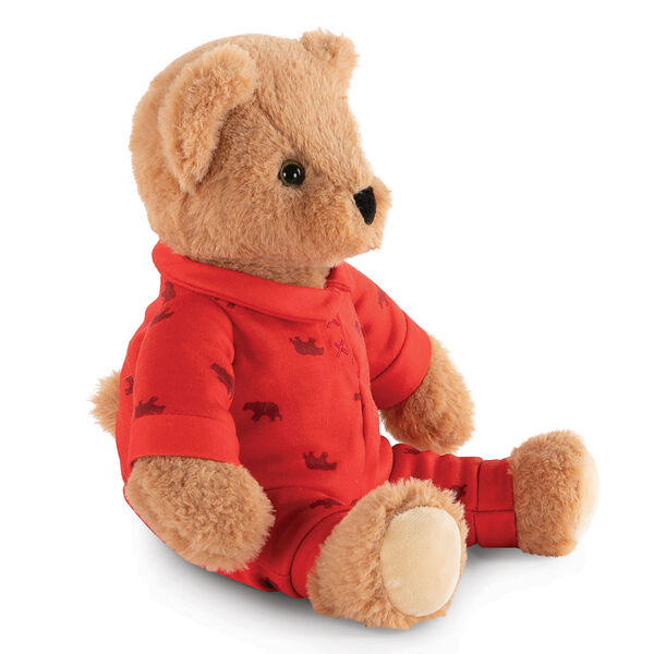 "13"" PJ Pal Bear - Three quarter view of seated light brown Bear in red cotton onesie pajamas with grizzly bear print  image number 2"