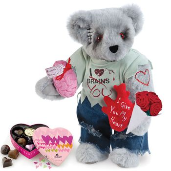 """15"""" Zombie Love Bear with Roses and Chocolates"""