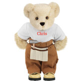 """15"""" Handy Bear - Front view of standing jointed bear dressed in tan work pants, white t-shirt and tan tool belt, personalized with """"Chris"""" on front of t-shirt in red lettering - Buttercream brown fur image number 1"""