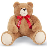 """4' Big Hunka Love Bear with Get Well Soon! Bow - Front view of seated golden brown bear dressed in a red satin bow with """"Get Well Soon"""" on the right bow tail image number 0"""