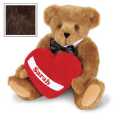 """15"""" Romantic at Heart Bear - Seated jointed bear with tuxedo collar and plush heart pillow, which is personalized with """"Sarah"""" - Espresso image number 9"""