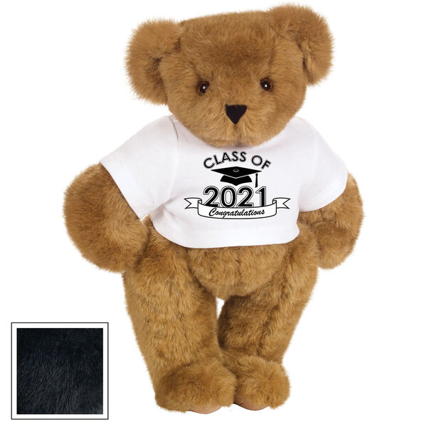 "15"" Graduation T-Shirt Bear - Standing jointed bear dressed in a white t-shirt with Class of 2021 on the front, personalized with ""Congratulations"" - Black image number 3"