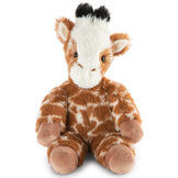 "18"" Oh So Soft Giraffe - Front view of seated brown and tan patterned Giraffe with ginger brown mane and tail, beige hooves, cream muzzle and black tipped horns  image number 0"