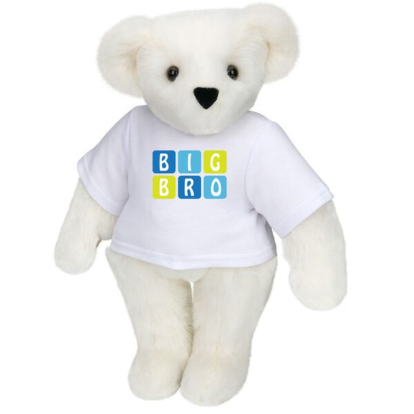 """15"""" BIG BRO T-Shirt Bear - Standing jointed bear dressed in white t-shirt with blue and green graphic that says, """"Big Bro' - Vanilla white fur image number 2"""