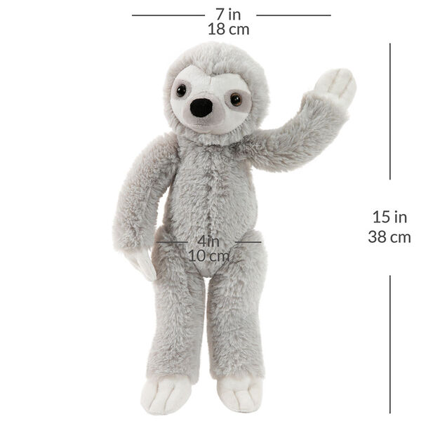 "15"" Buddy Sloth - Front view of standing slim gray and white Sloth with a width measurement of 7 in or 18 cm and and length measurement of 15 in or 38 cm long and 4 in or 10 cm across the belly.  image number 6"