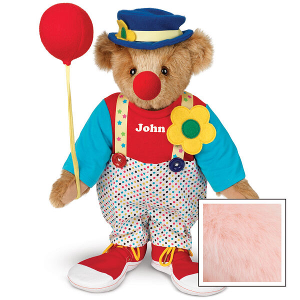 "15"" Clown Bear - Standing jointed bear dressed in dot pants with suspenders and daisy, red and blue shirt, blue hat, red clown shoes, and holds  red fabric balloon made personalized with ""John"" in white on shirt's center front - Pink image number 5"
