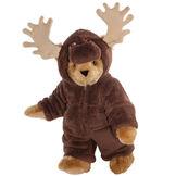 """15"""" Moose Bear - Front view of standing jointed bear dressed in a brown hoodie footie with tan antlers  - Honey brown fur image number 0"""