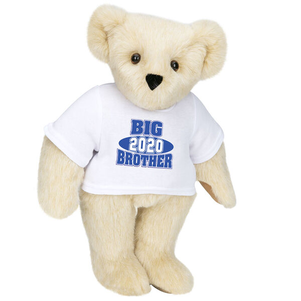 """15"""" 2020 Big Brother T-Shirt Bear - Standing jointed bear dressed in a white t-shirt with royal blue and white artwork that says, """"Big Brother 2020"""" on the front of the shirt - Buttercream  brown fur image number 1"""