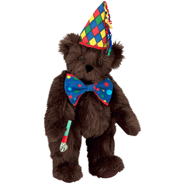 "15"" Celebration Bear - Standing jointed bear dressed in colorful diamond print party hat with ribbon streamers, a blue dot bow tie holding a party horn  - Espresso brown fur image number 7"
