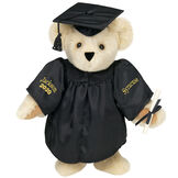 """15"""" Graduation Bear in Black Gown - Front view of standing jointed bear dressed in black satin graduation gown and cap and holding a rolled up diplomapersonalized """"Jackson 2020"""" on right sleeve and """"Syracuse"""" on left in gold - Buttercream brown fur image number 1"""