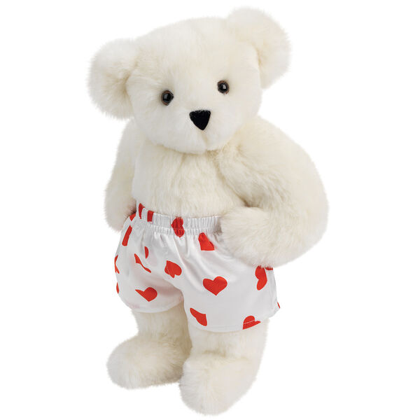 """15"""" Heart Throb Bear - Three quarter view of standing jointed bear dressed in white satin boxers with red hearts - Vanilla white fur image number 2"""