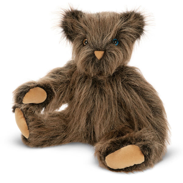 """20"""" Special Edition Classic Dark Brown Bear - Three quarter view of seated jointed bear with long brown tipped fur with 1 blue eye and 1 brown eye image number 0"""