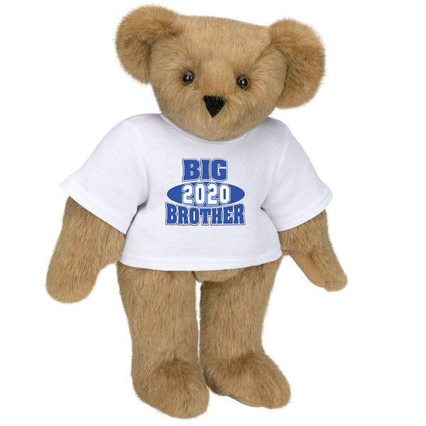 """15"""" 2020 Big Brother T-Shirt Bear - Standing jointed bear dressed in a white t-shirt with royal blue and white artwork that says, """"Big Brother 2020"""" on the front of the shirt - Honey brown fur image number 0"""
