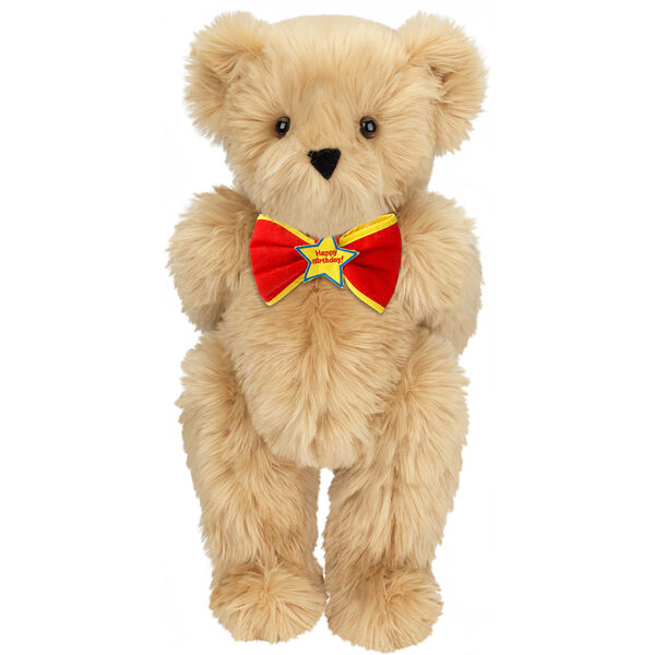 "15"" ""Happy Birthday"" Bow Tie Bear - Standing jointed bear dressed in red bow tie with yellow trim; ""Happy Birthday"" is embroidered on Star center - long Maple brown fur image number 2"