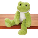"""15"""" Buddy Frog - Front view of seated plush green slim frog with white belly and brown eyes on a shelf image number 1"""